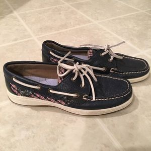 Navy leather Sperry Topsiders